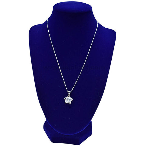 Silver Star Shaped Diamond Stone Necklaces