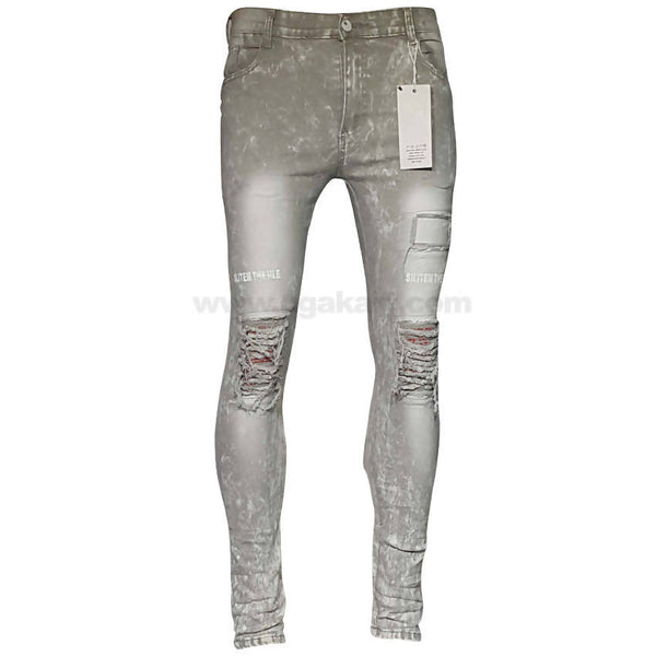 Light Grey Slim Tracks Holes Jeans For Mens