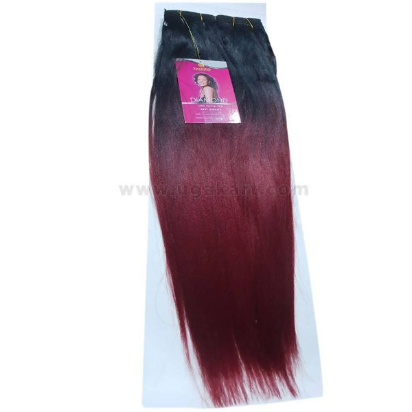 Diamond Yaki18 Human Hair_Black & Mahroon_18 Inch