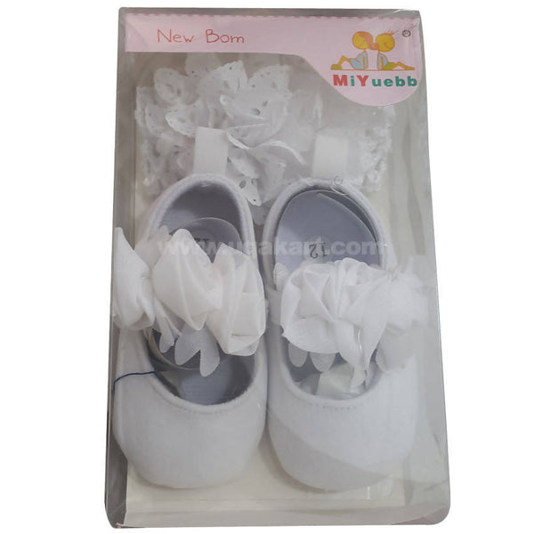 White Baby shoes & HeadWarp For New Born