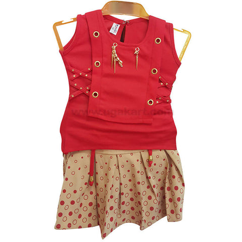 Girl's Red Top with Cream Red Dotted Skirt (2 to 6 yrs)