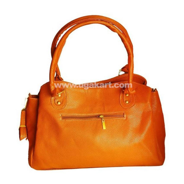 Ladies Genuine Leather Handbag - Orange