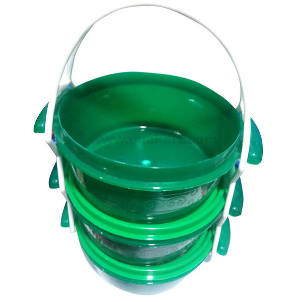 Plastic Mixing Bowl with Green Lid - Set of 3