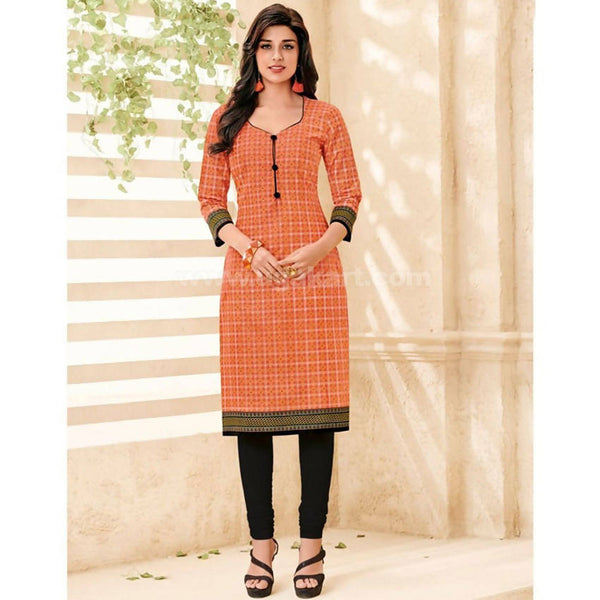 Orange and Black Cotton Print Kurti - Size : XXL