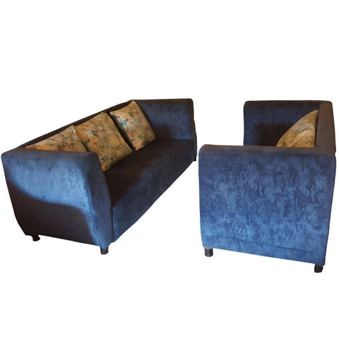 Five Seater Blue Sofa With Cusion