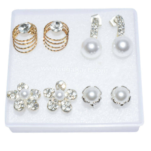 Pearl and Artifical Crystal Earrings ( Price Per Each)