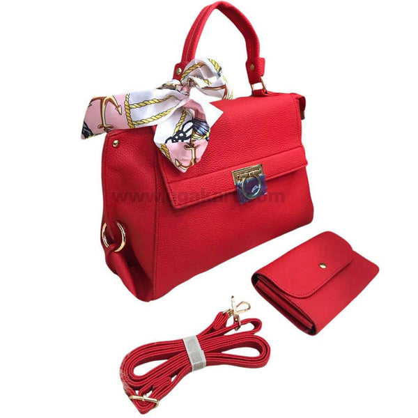 2PCS Red Faux Leather Hand Bag