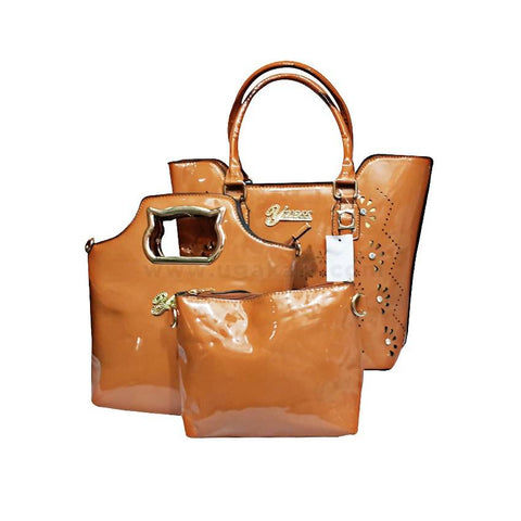 3-In-1 Yuess Trendy Leather Handbag - Brown