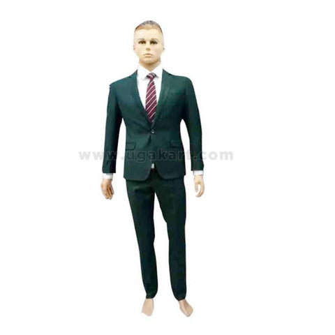 Single Button Black Suit With White Shirt And Tie