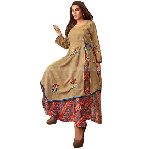 Long one pc Dress With Cotton and Khadi Cotton Material XXL (Bust Size-44)