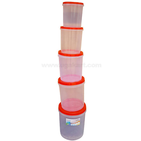 Round White Transparent Storage Container with Red Lid, Set of 5