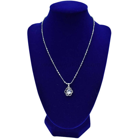 Silver Flower Shaped Diamond Stone Necklaces