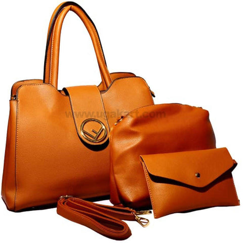 Brown Faux Leather 3Pcs Hand Bag
