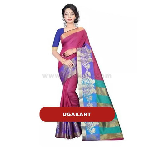 Maroon With Violet Cotton Saree