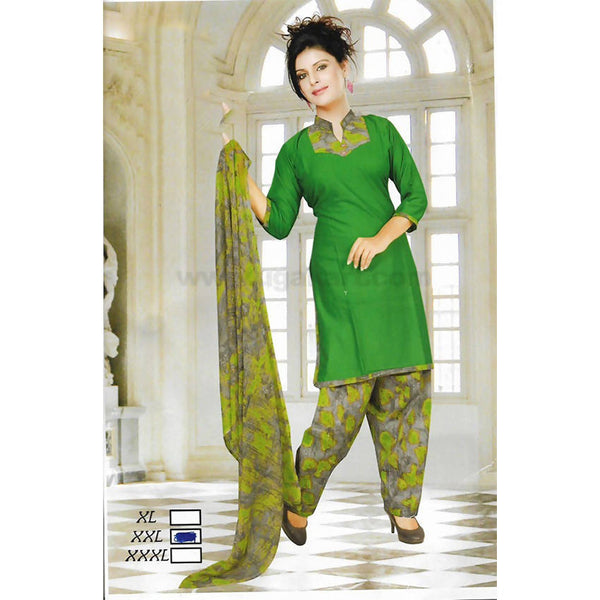 Green Printed Cotton Patiyala Dress - Size : XXL