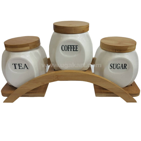 3 Pcs Ceramic Jar With Wooden Stand