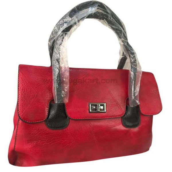 Black and Red Faux Leather Hand Bag
