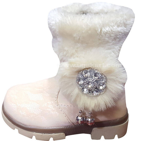 White Ankle Snow Boots For Kids