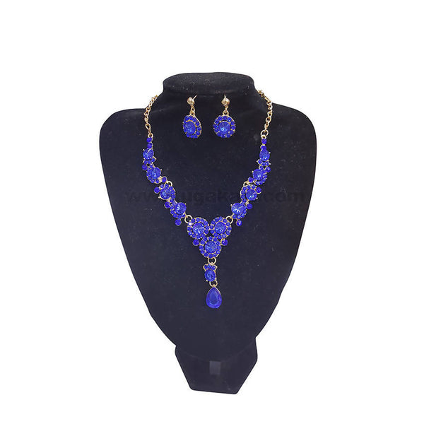 Beauty of Blue Necklace With Earrings