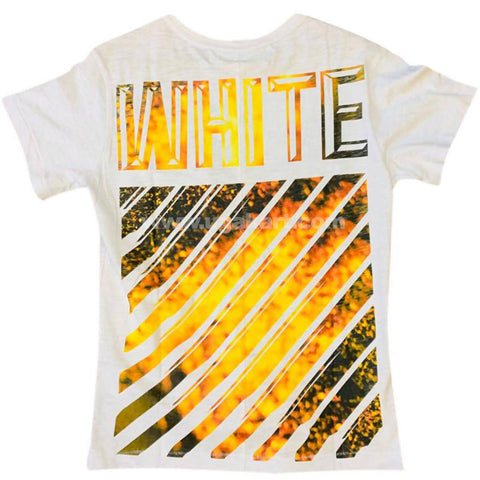 Men's White & Yellow Designer T-Shirt