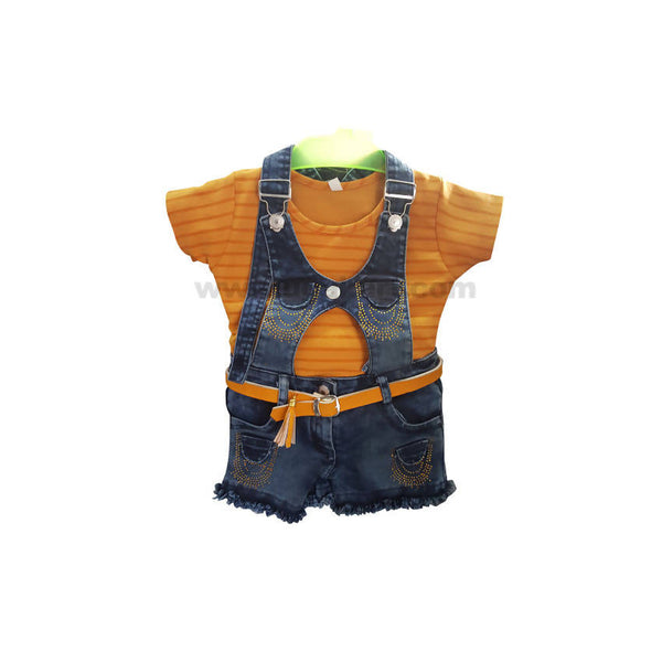 Yellow Dungaree Jeans Dress For Girl_1 to 5 yr