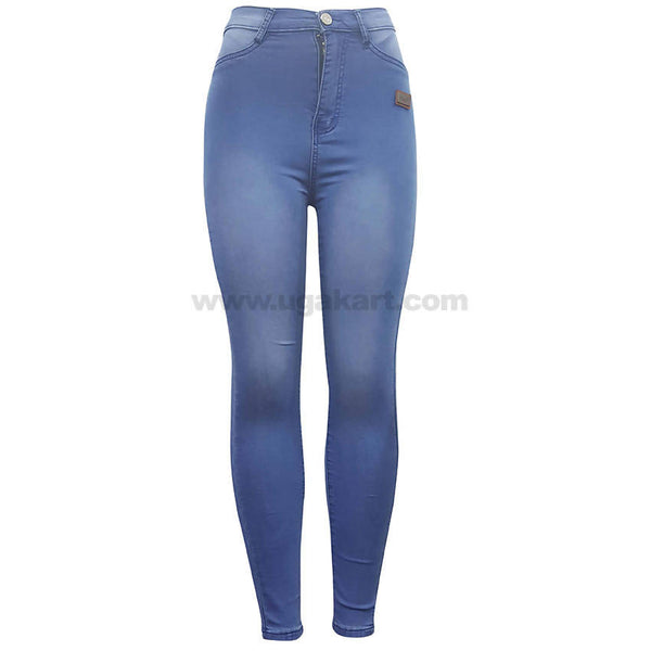 Long Waist Blue and white ShadeDenim Jean For Women's