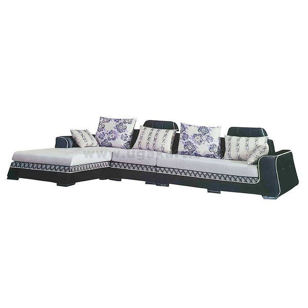 White And Nevi Blue L Shaped 6Seater Sofa High Density With Fiber Pillow Cushions