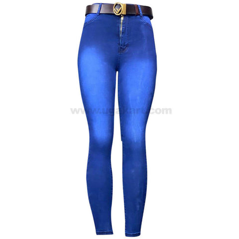 Blue Shaded Skinny High Waisted Women's Jeans