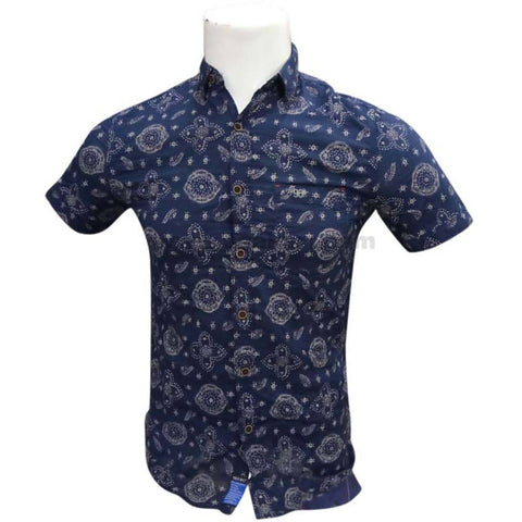 Half Sleeve Casual Printed Blue Shirt For Mens