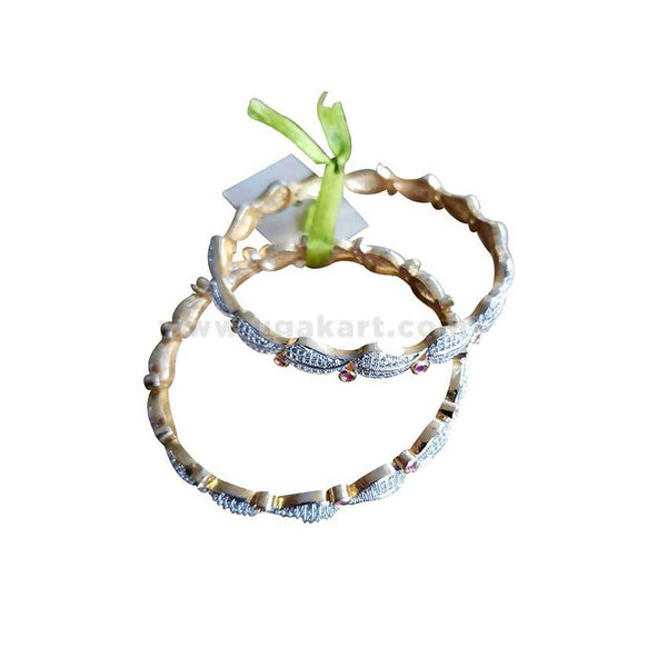 2Pcs Silver Plated Bangles - Gold