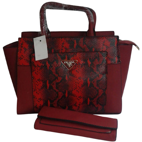 Prada Maroon 2Pcs Hand Bag