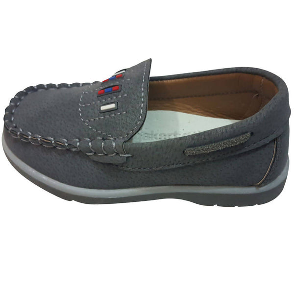 Fashion Casual Grey Leather Shoes For Kids