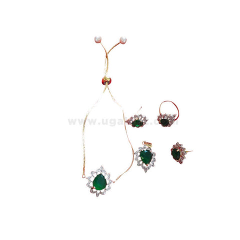 Jewellery Combo Set with Green Stone