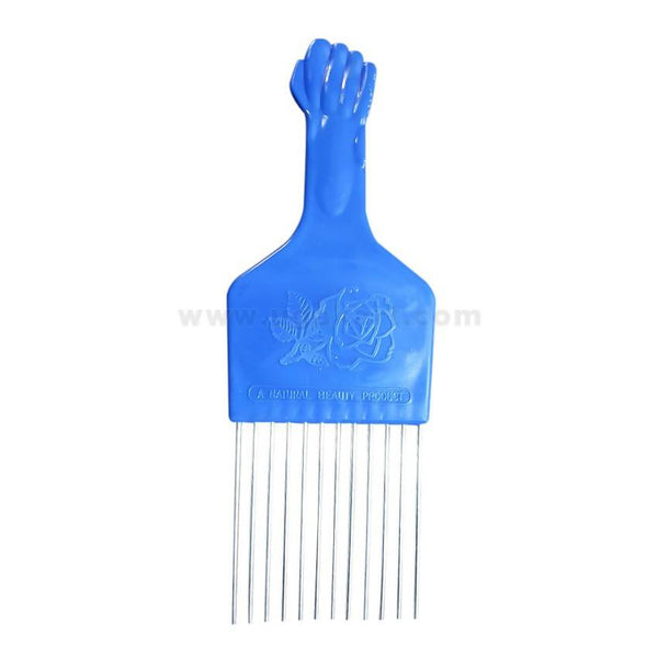 Blue Afro Comb With Mirror-2Pcs