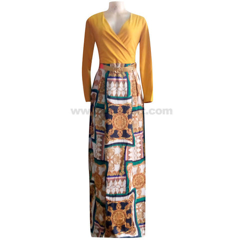 Women's Yellow Top with Multi Color Bottom Long Dress