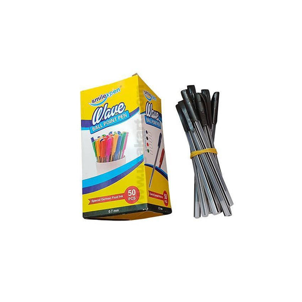 Smile Pen Wave Ball Point Pen 0.7Mm 50PC Black