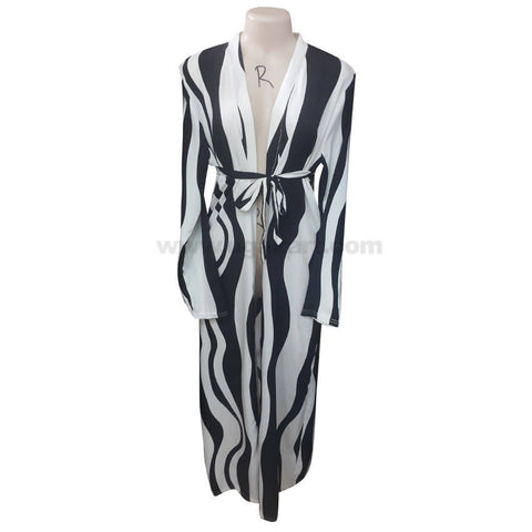 Women's White & Black Waist Strap Long Sleeve Dressing Gown