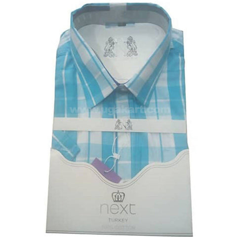 Checked Office And Casual Mens Short Sleeved Shirt - Sky Blue and White