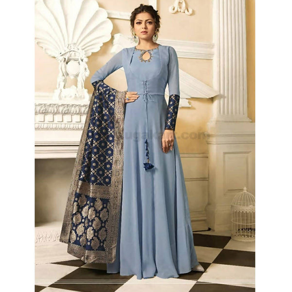 Beautiful Long Gown With Banarasi Duppata- XXL (Bust Size - 44)