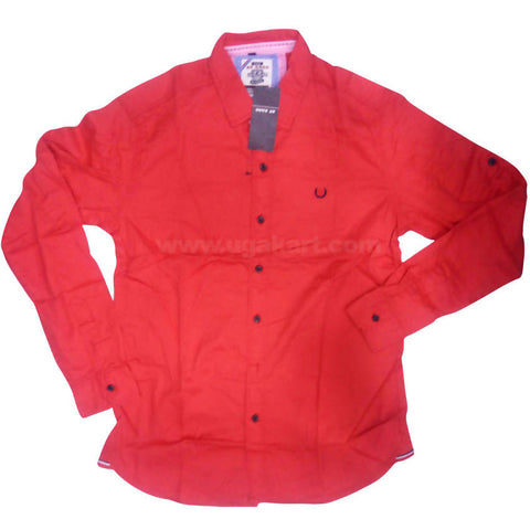 Red Full Sleeve Regular Fit Cotton Shirt For Men