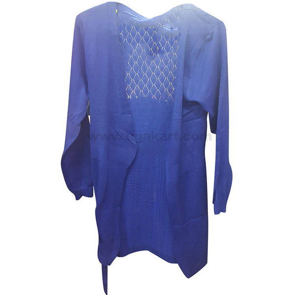 Blue Ladies Front Open Sweater (Free Size)