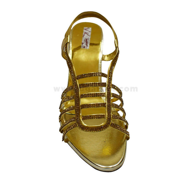 VK Golden Sandal With Heal For Women's