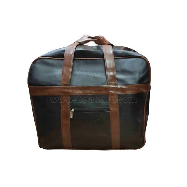 Faux Leather Travel Bag Black And Brown Handle