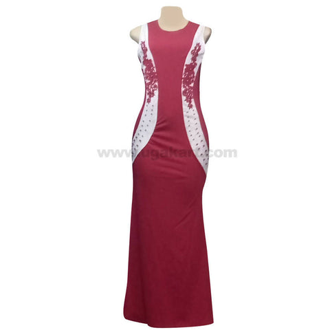 Women's Maroon & White Sleeve less Long Dress