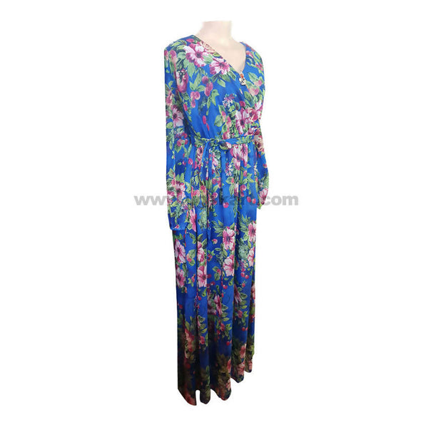 Women's Gown With Floral Design In Blue & Peach-Size L,XL,XXL