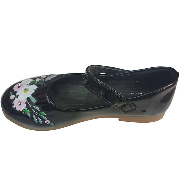 Princess Leather Baby Black Shoes with Flowers(Size-24 to 30)