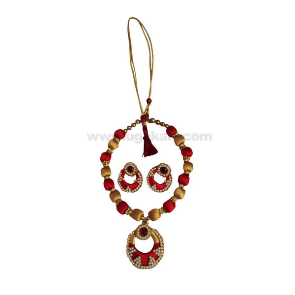 Red And Golden Thread Ball Necklace With Earrings