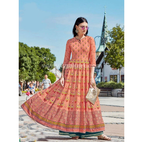 Orange Printed Long Gown - Size: XXL