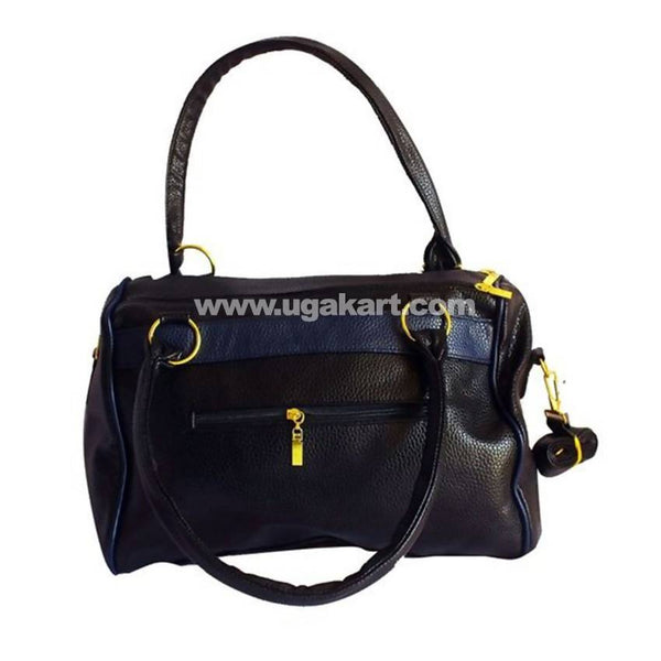 Leather Multi-Functional Handbag - Navy Blue