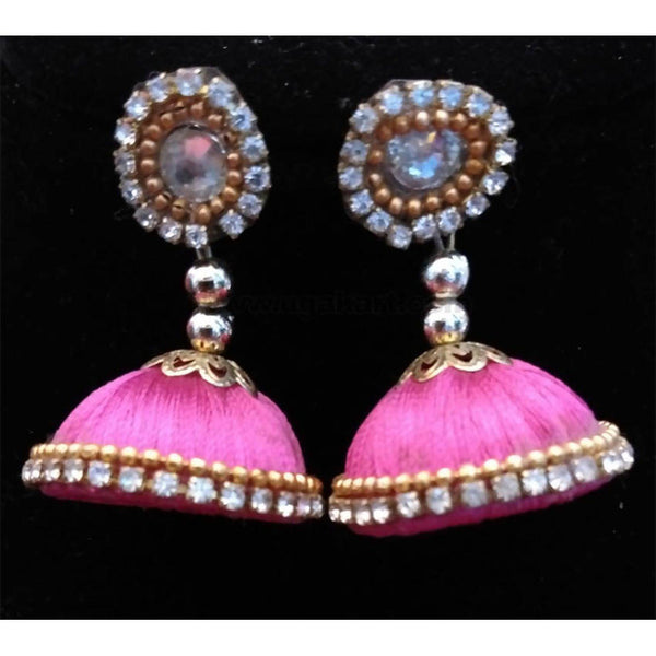 Pink Thread Earrings With Diamond